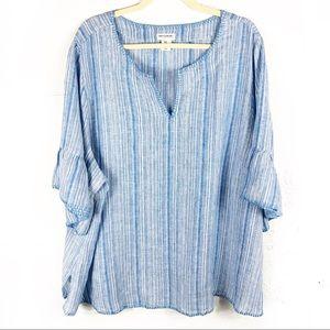 Artisan NY Top Short Sleeve Vertical Stripe Linen
